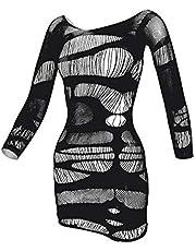 LEMON GIRL Women Fishnet Lingerie BabyDolls Chemise Long Sleeve Stocking Mini Dress Size US2-18