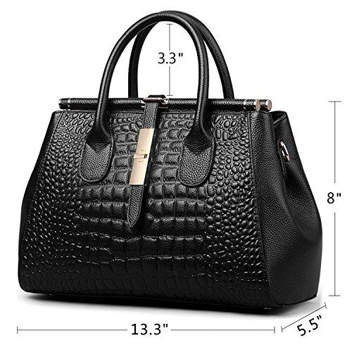 Jack&Chris Ladies Top Handle Tote Bag for Women Crocodile Embossed Purses and Handbags on Clearance, WBDZ024 (SP-Black) by Jack&Chris (Image #2)