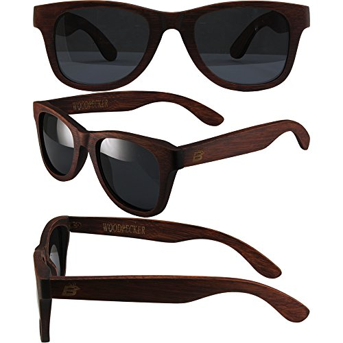 Birdz Woodpecker Wayfarer Sunglasses Naturally Floating Red Bamboo Frames Smoke - Birdz Sunglasses
