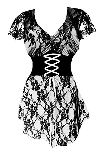 Dare to Wear Victorian Gothic Boho Women's Plus Size Sweetheart Corset Top White L