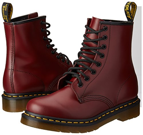 Dr-Martens-Womens-1460-8-Eye-Patent-Leather-Boots-Cherry-Red-Rouge-Smooth-6-FM-UK-8-BM-US-Women-7-DM-US-Men