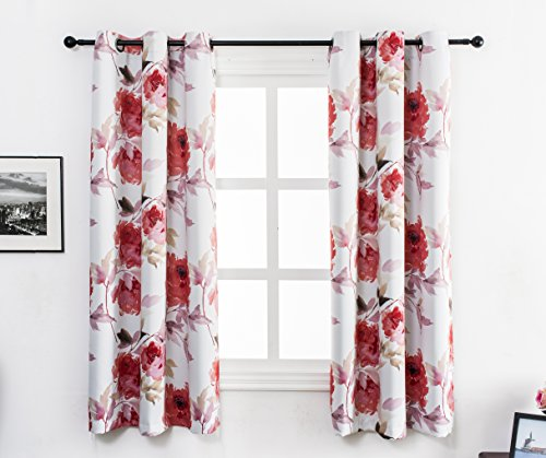 Red Floral Curtains - MYSKY HOME Printed Floral Curtains for Living Room, Room Darkening Grommet Curtain Panels 42 inch wide by 63 inch length by (Red, 1 Pair)