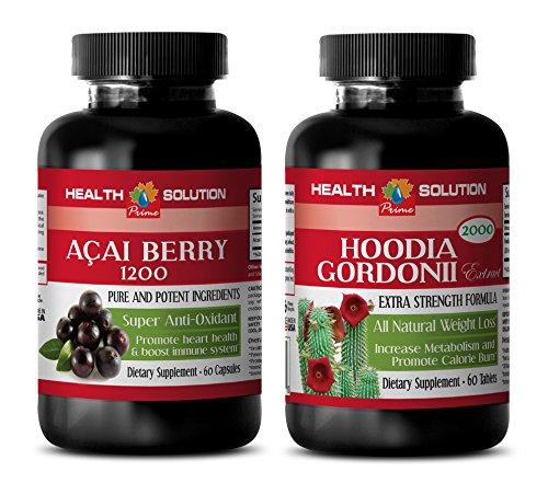 energy boost fat burner - ACAI BERRY - HOODIA GORDONII - hoodia complex - weight loss combo kit - (2 Bottles (Hoodia Complex)