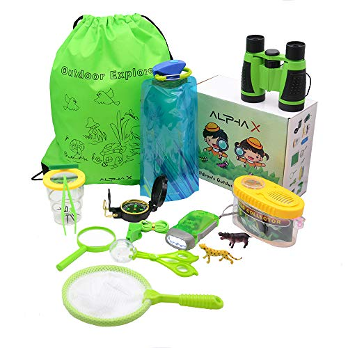 15-in-1 Kids Camping Gear - Outdoor Exploration Adventure Play Set w/ Explorer Gear, Nature KIT Binoculars, Childrens Flashlight, Bug Catcher, Butterfly Net, Container, Backpack, Hiking -