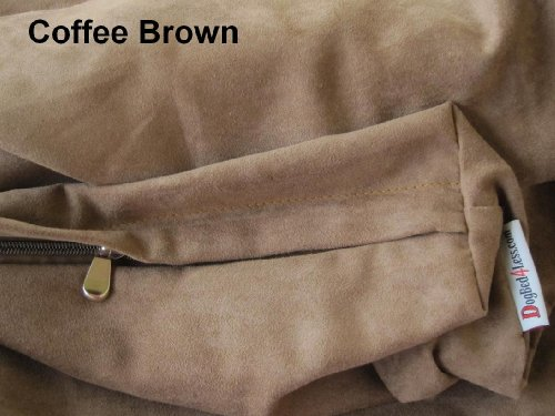 Dogbed4less Jumbo Extra Large Brown Microsuede External Cover and Waterproof Internal Case for Pet Dog Bed 55