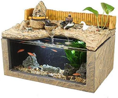 水槽の装飾デスク水族館テーブル水槽室内装飾加湿自然の風景家の装飾屋内噴水(サイズ:36.5x24x26cm)