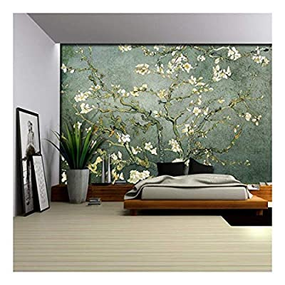 Teal Almond Blossom by Vincent Van Gogh Wall Mural, Classic Artwork, Gorgeous Creative Design