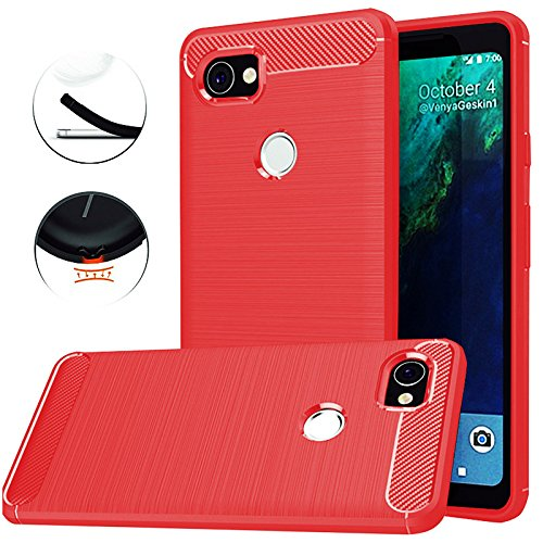 best cheap 6b700 4d84a Google Pixel 2 XL Case,Google Pixel XL 2 Case,Dretal Carbon Fiber Shock  Resistant Brushed Texture Soft TPU Phone case Anti-fingerprint Flexible ...