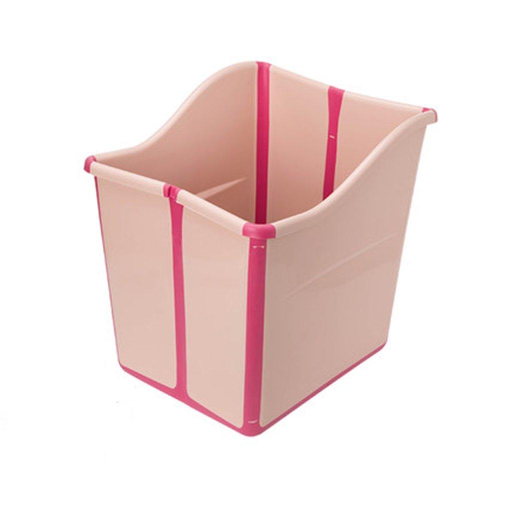 Sunhai& Children's Bath Large Thick Plastic Tub Baby Bath Folding Bath Barrels ( Color : B )