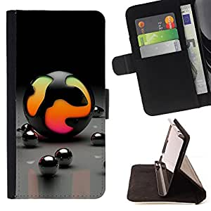 BullDog Case - FOR/Samsung Galaxy S4 IV I9500 / - / balls magic neon toy art colorful pink /- Monedero de cuero de la PU Llevar cubierta de la caja con el ID Credit Card Slots Flip funda de cuer