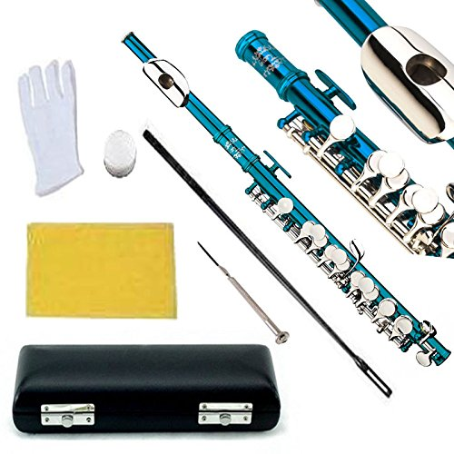 Glory Key of C Piccolo with Pro Case, Joint Grease, Cleaning Cloth and Rod, and Gloves, Sea Blue/Silver keys ~ More COLORS Available ! CLICK on LISTING to SEE All Colors