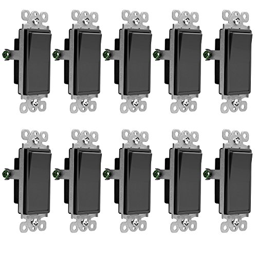(ENERLITES 3-Way Decorator Paddle Light Switch, Residential Grade, 15A 120V-277V, Grounding Screw, Back Insert and Side Terminals, PN: 93150-BK, Black (10)
