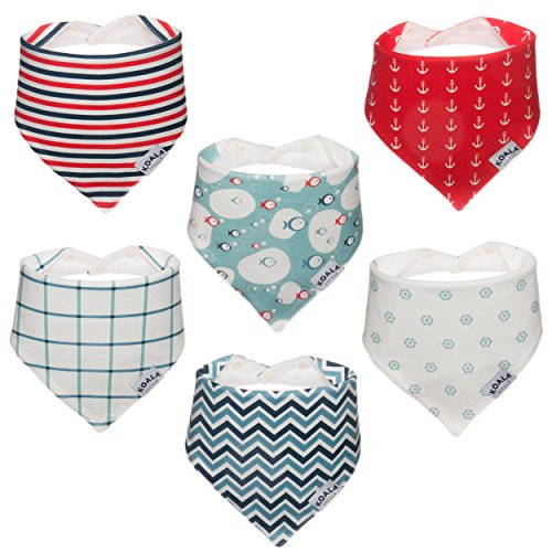 Koala Little Baby Bandana Drool Bibs for Drooling and Teething, 100% Organic Cotton, Unisex 6 Pack Gift Set for Girls or Boys