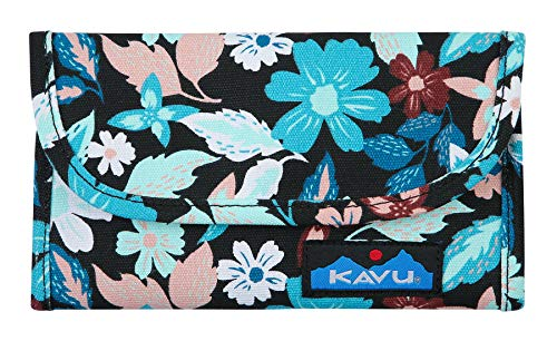 (KAVU Big Spender Tri-fold Wallet Womens Cotton Clutch Travel Organizer - New Blossom)