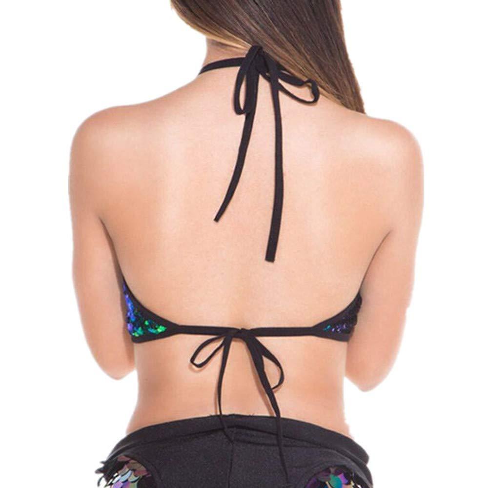 Malbaba Women Lace Up Hollow Out Tank Tops Sequins Bra Vest Crop Tops Bralette Bra Sequin Clubwear Bra Tops