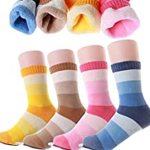 VWU 4 Pack Boys Girls Thick Terry Socks Teens Rainbow Over The Calf Socks