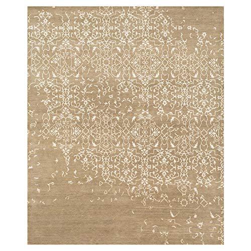 - Kathy Kuo Home Sisay Regency Taupe Brown Scroll Silk Wool Rug - 2x3