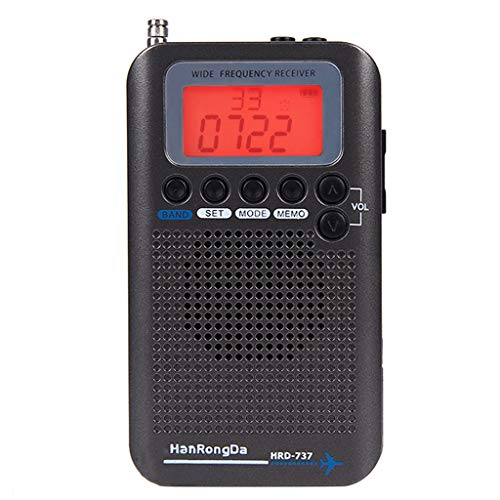 gazechimp High-Sensitivity Full Band VHF Airband Radio AM, FM, Shortwave, Travel Portable Aircraft Radio Receiver with LCD Display