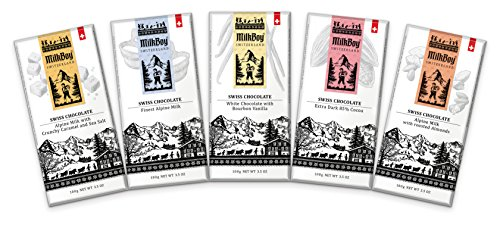 Certified Swiss Made - Milkboy Swiss Chocolates, 5 Flavors Variety Pack (Pack of 5)