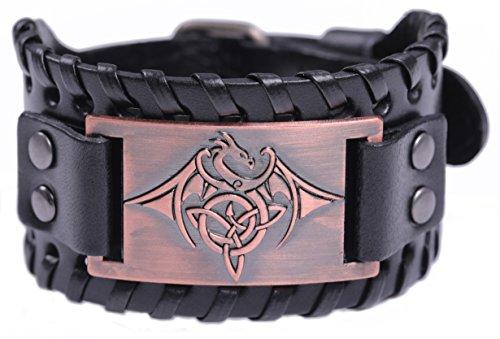 (TEAMER Celtic Trinity Knot Triquetra Bracelet Wing Dragon Leather Bracelet Gift Jewelry for Men (Antique Copper,Black) )