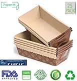 Paper Loaf Pan, Disposable Paper Baking Loft Mold 25ct, All Natural FDA Approved, Recyclable, Microwave Oven Freezer Safe, Providing Beautiful Display For Baked Goods (6''x 2.5''x2'')