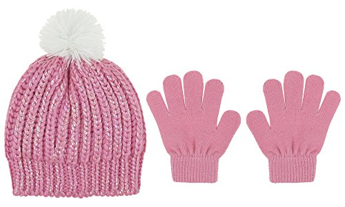 Capelli New York Girls Slouchy Hat with Fur Pom and Gloves Set Pink Combo S / M Cmb Matte
