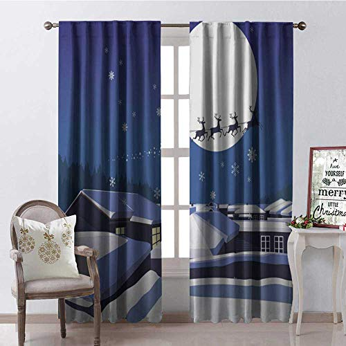 Hengshu Christmas Snow Roof Moon 9 Thermal Insulating Blackout Curtain Blackout Draperies for Bedroom W84 x L84 ()