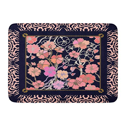 Border Zebra Rug (Emvency Bath Mat Boho Black Abstract Vintage Scarf Pink Blooming Cherry Tree Zebra Bohemian Collection Red Blossom Border Bathroom Decor Rug 16