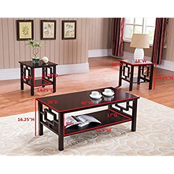 Kings Brand Furniture T92 3PK 3 Pc. Wood Coffee 2 End Tables Occasional Set, Cherry