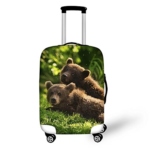 HUGS IDEA Brown Bear Print Unique Luggage Protector Travel Suitcase Cover for 26/28/30 Inch