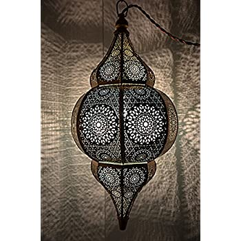 Indian Modern Hanging Light Metal Moroccan Pendant Lamp (Gold & Turquoise) 20 x 10 Inches