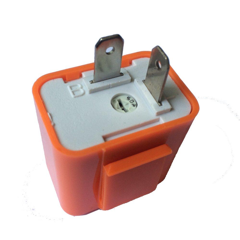 Festnight 12 V 2 Broches Vitesse R/églable LED Indicateur Flasher Clignotant Relais Relais R/ésistance Fix Hyper Contr/ôle Flash pour Moto Orange Couleur