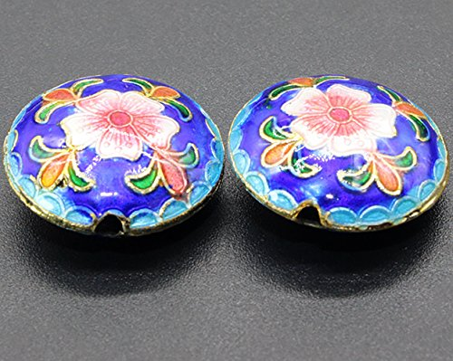 TIDOO Jewelry Chinese Ethnic Style Handmade Oval Enamel Cloisonne Beads for DIY Jewelry Making 2 PCS Flower Design Jewelry Accessories for Bracelet Chain (2# Blue)