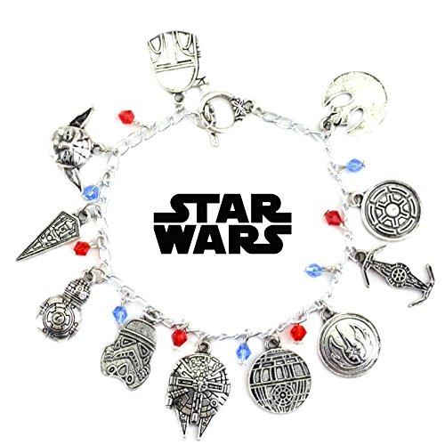 Blue Heron Star Wars 11 Logo Charms Toggle Clasp Bracelet w/Gift (Theme Toggle Bracelet)
