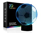 Soccer Night Lights for Kids 3D Illusion Football Lights Lamp Wiscky 7 LED Colors Changing Touch Table Desk Lamps Decorative Lighting Cool Toys Gifts Birthday Holiday Xmas Gifts Sports Theme Fans