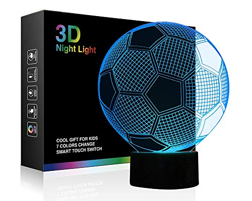 Soccer Night Lights for Kids 3D Illusion Football Lights Lamp Wiscky 7 LED Colors Changing Touch Table Desk Lamps Decorative Lighting Cool Toys Gifts Birthday Holiday Xmas Gifts Sports Theme ()