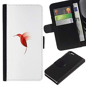 Be Good Phone Accessory // Caso del tirón Billetera de Cuero Titular de la tarjeta Carcasa Funda de Protección para Apple Iphone 6 4.7 // red bird Hummingbird
