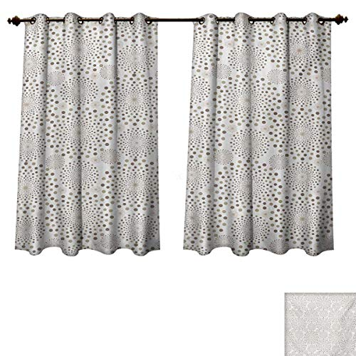Tan Fabric Taupe Trim Panels - Abstract Blackout Thermal Backed Curtains for Living Room Geometric Composition with Circles of Different Sizes and Flower Arrangement Customized Curtains Tan Taupe Beige W55 x L63 inch