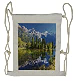Ambesonne Outdoor Drawstring Backpack, Mountain Lake Evergreen, Sackpack Bag