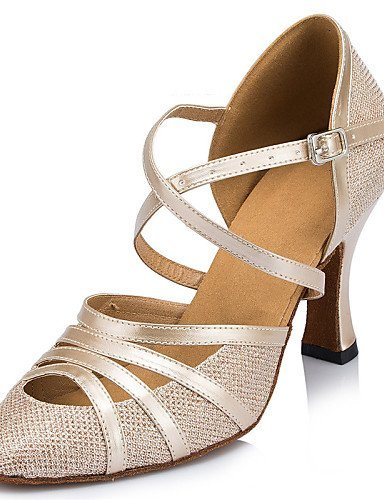 ShangYi Non Customizable Women's Dance Shoes Latin / Jazz / Modern / Swing Shoes / Flamenco / Samba Leather / Leatherette Silver