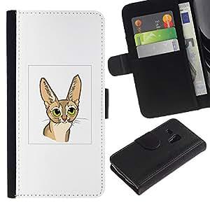 eJoy---La carpeta del tirón la caja de cuero de alta calidad de la PU Caso protector - Samsung Galaxy S3 MINI 8190 - --Savannah Abyssinian Cat Long Ears Drawing