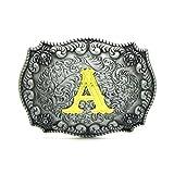 MASOP Alphabet Initial Letter Belt Buckle Head Mens Metal Western Cowboy