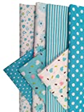 """levylisa 19.7"""" x 19.7"""" 7pcs Fabric Bundles Flower Printed Cotton Fabric Blue Series Different Pattern Comfortable Patchwork Fabric Home Textile Material Cloth for DIY Sewing (blue)"""