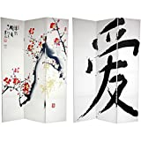 Oriental Furniture 6 ft. Tall Double Sided Cherry Blossoms and Love Canvas Room Divider