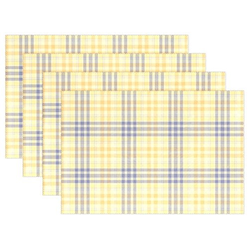 My Little Nest Yellow Blue Plaid Pattern Placemats Dining Pad Washable Table Mats for Party Kitchen Dining Table Home Decor 4 - Decor Home Placemats