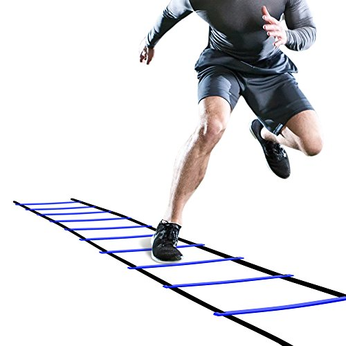 GHB Pro Agility Ladder Agility Training Ladder Speed Flat Rung with Carrying Bag (Blue)
