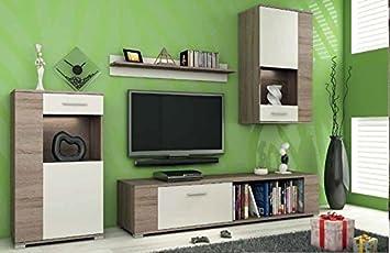 Schne 4 Tlg TV Wohnwand Foxy Mit LED Beleuchtung Schner Wohnzimmer