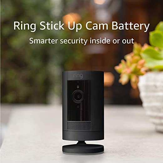 Ring Stick Up Cam Battery HD security camera with custom privacy controls, Simple setup, Works with Alexa - Black