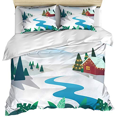 Bedding Set 3 Pcs Duvet Cover Set Queen Size, Snow Covered Courtyard with Tropical Tree Plant and Lane in Front of an Red House Image Quilt Cover Suitable for Adults for Holiday