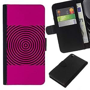 iBinBang / Flip Funda de Cuero Case Cover - Las ondas de sonido Pink Música Disco de vinilo - HTC DESIRE 816